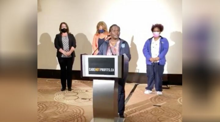 Florence Mwangi, a PSW, speaks at a press conference where long-term care staff and union leaders called for urgent action for Ontario's long-term care homes.