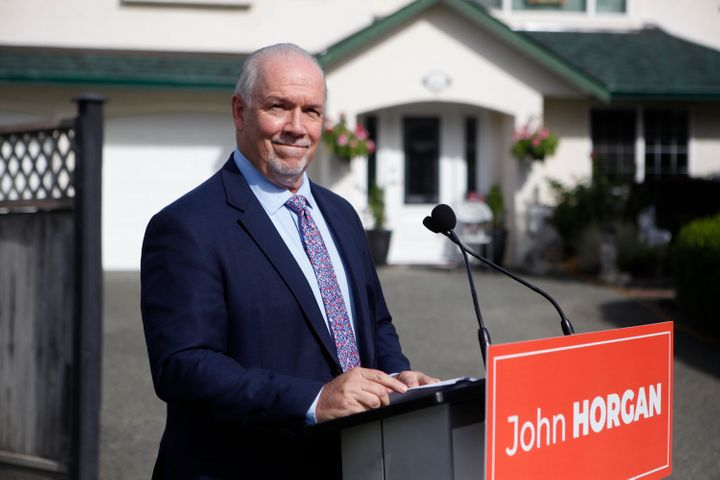 B.C. Premier John Horgan speaks during a press conference in Langford, B.C., on Monday Sept. 21, 2020.