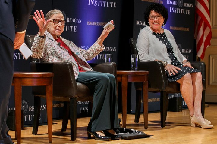 Supreme Court Justice Ruth Bader Ginsburg (left) and Justice Sonia Sotomayor at en event at the Library of Congress on Sept.