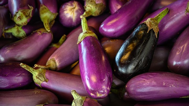 A view of colorful eggplant, from directly above.