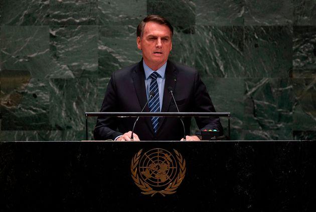 Jair Bolsonaro em sua 1ª participação na Assembleia Geral da ONU em setembro de