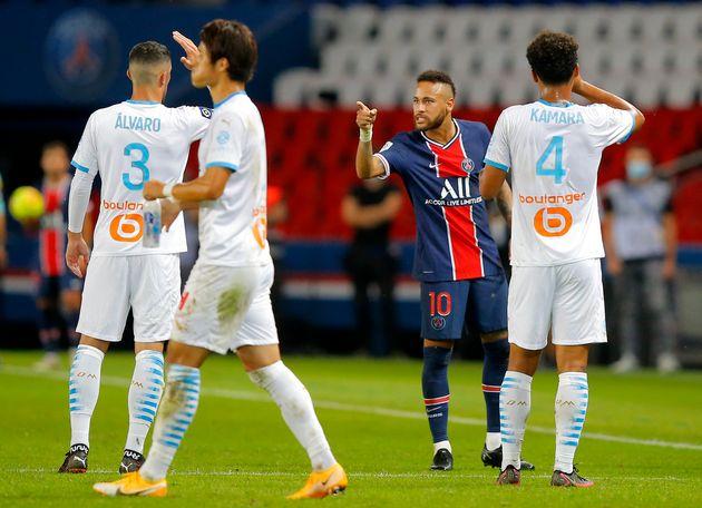 Photo d'illustration: Neymar et Alvaro en pleine altercation, lors du classico PSG - OM du 13 septembre...