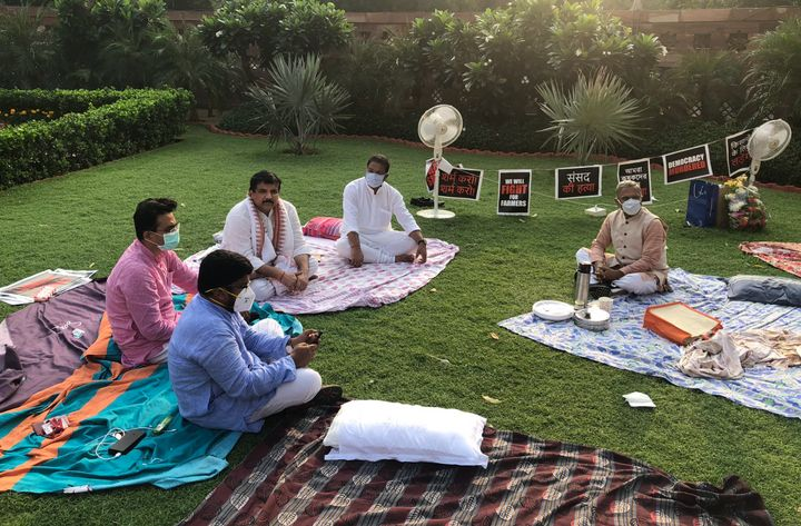 Protesting MPs inside the Parliament premises on Tuesday morning with Rajya Sabha deputy chairman Harivansh.