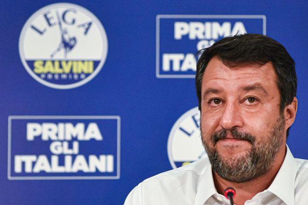 Head of the Lega party, Italian senator Matteo Salvini addresses a press conference at the Lega headquarters...