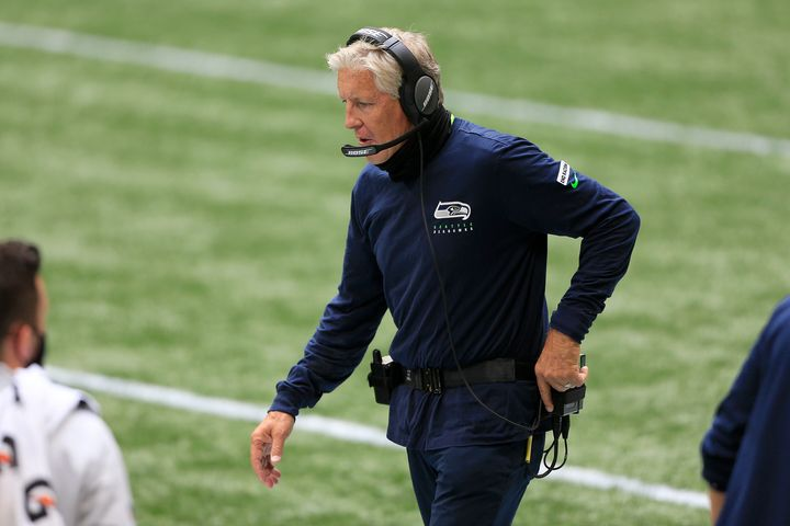 Seahawks Coach Pete Carroll walks the sidelines during his team's week 1 game at the Atlanta Falcons.