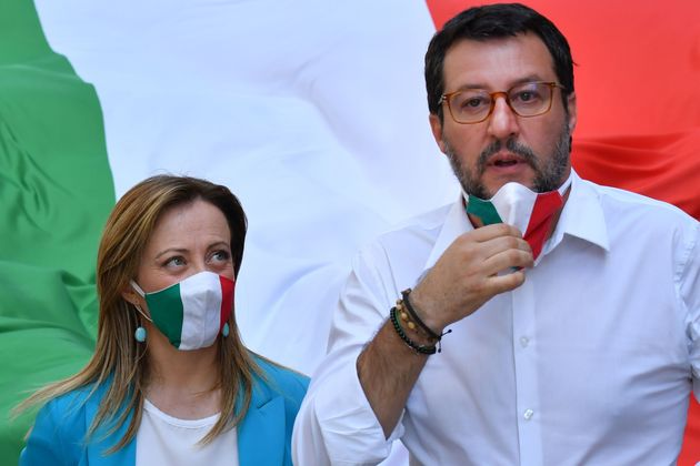 Head of the League party Matteo Salvini and head of the Brothers of Italy (FdI) party, Giorgia Meloni...