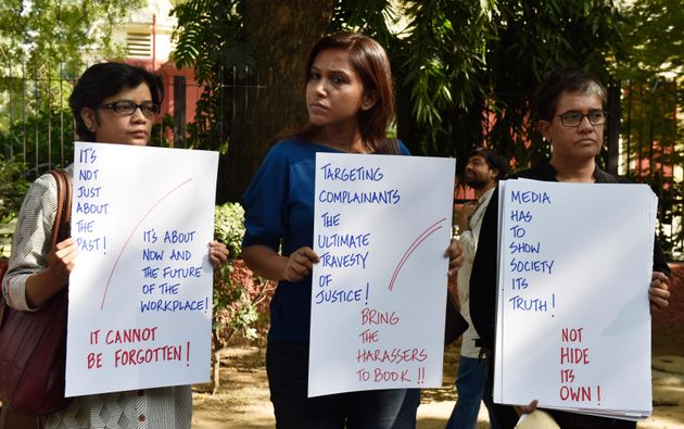 NEW DELHI, INDIA - OCTOBER 13: Electronic and Print media journalists stand to protest against the sexual...