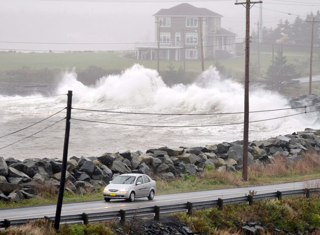 Waves hit the shore in Cow Bay, N.S., during a strong storm in 2012. Winds up to 100 km/h are expected...