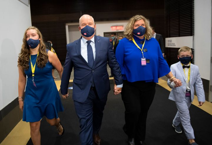 Erin O'Toole walks with his wife Rebecca, second right, daughter Mollie and son Jack, right, after being announced as the new leader of the Conservative Party of Canada in Ottawa, on Aug. 24, 2020.