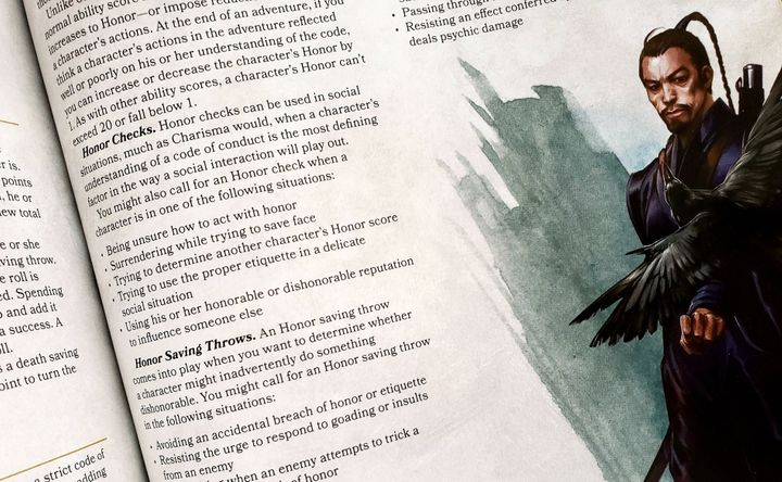 """An image of rules from the current D&D """"Dungeon Master's Guide,"""" with suggestions on what to do when """"being unsure how to act with honor."""""""
