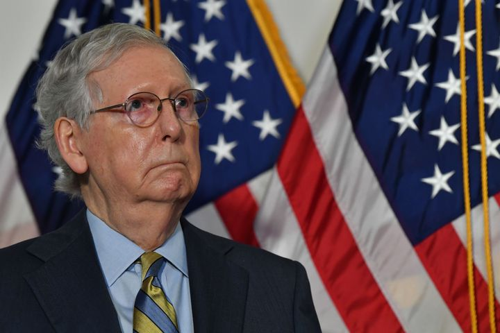Senate Republicans, led by Majority Leader Mitch McConnell, met behind closed doors Tuesday to discuss the timing of hearings