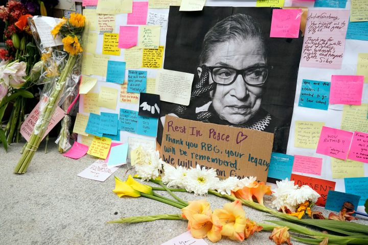 A memorial outside Harvard Law School was created for the justice known as RBG on Tuesday.