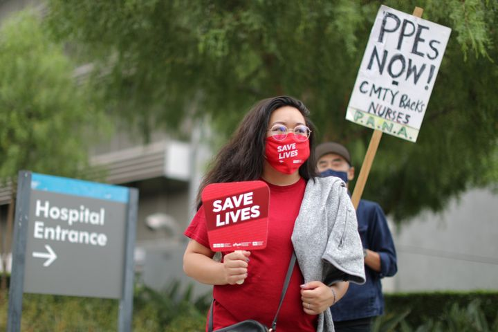 Nurses in Los Angeles participate in a national protest for personal protective equipment (PPE) and safer working practices i