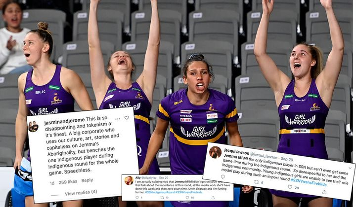 The Queensland Firebirds have been accused of tokenism for using player Jemma Mi Mi (second from left) to promote the Super Netball's Indigenous round and then benching her during the game.