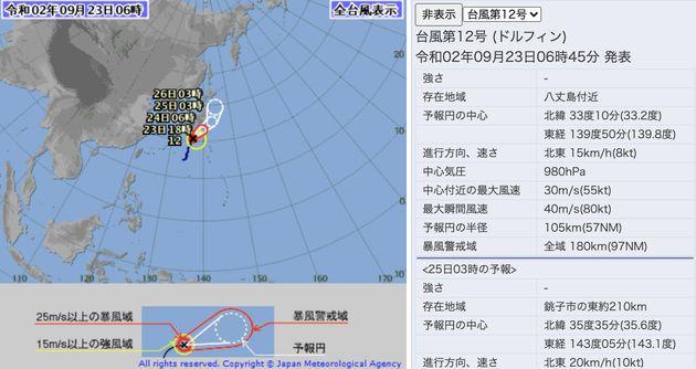 気象庁による台風12号の進路予想