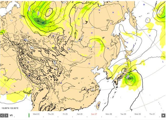 9月23日午後9時の台風予測