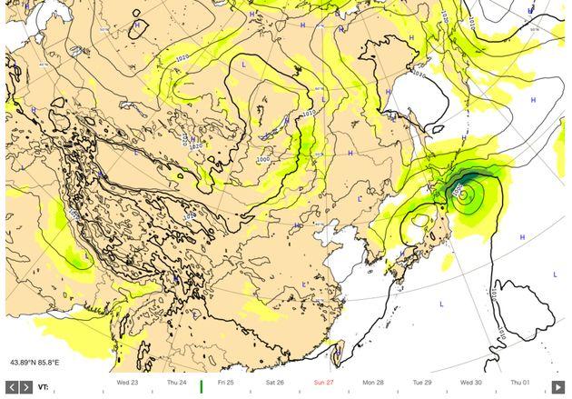 9月25日午後9時の台風予測
