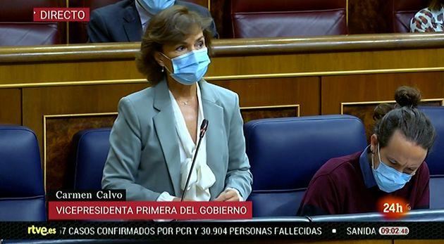 Carmen Calvo, en la sesión de control de