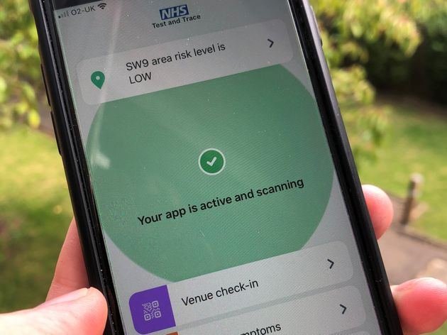 The NHS Covid-19 app on a mobile