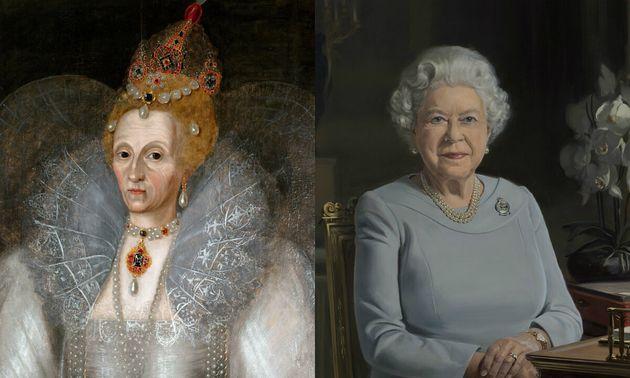 À gauche: portrait de la reine Elizabeth I, peint par Marcus Gheeraerts the Younger, daté...
