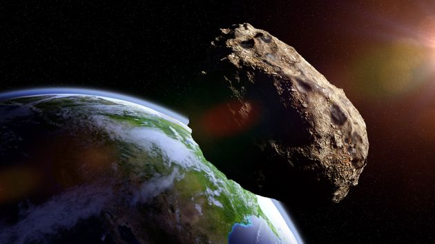 meteorite from outer space, falling toward planet Earth, dramatic science fiction