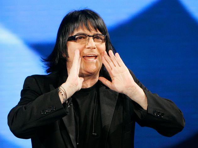 Italian singer and composer Renato Zero gestures during the Italian State RAI TV program