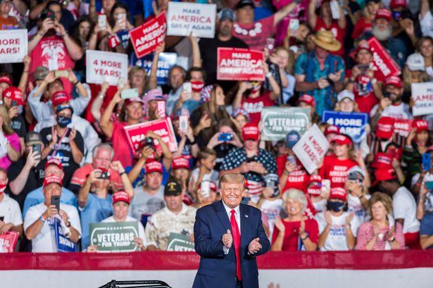08/09/2020 Winston-Salem, North Carolina, USA: il presidente Donald Trump in campagna elettorale durante...