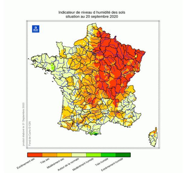 L'indicateur de niveau d'humidité des sols, transmis par Météo France, à la date du 20 septembre
