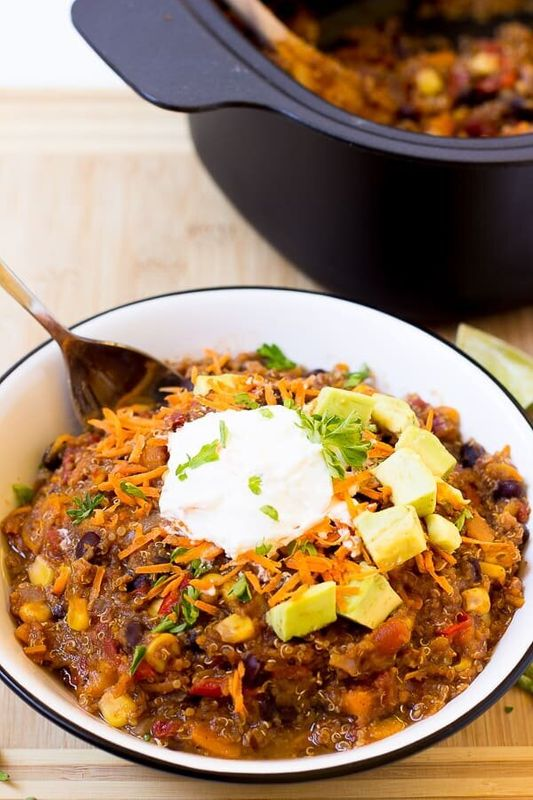 Vegan Sweet Potato and Black Bean Quinoa Chili (Slow Cooker) from Jessica in the Kitchen