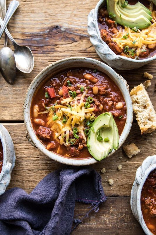 Healthy Slow Cooker Turkey and White Bean Chili from Half Baked Harvest