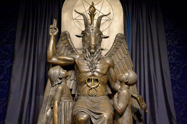 The Baphomet statue in the conversion room at the Satanic Temple in Salem, Massachusetts, on Oct. 8, 2019.