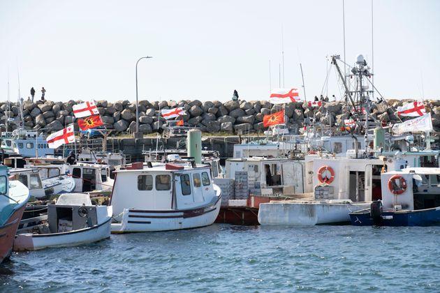 Sipekne'katik First Nation boats in Saulnierville, N.S. on Sept. 20,