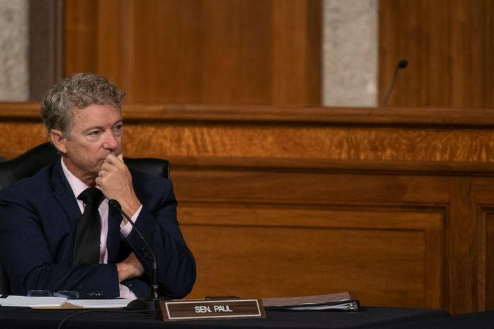 Sen. Rand Paul (R-Ky.) listens during the Senate hearing on the federal government's response to COVID-19 in Washington Wedne