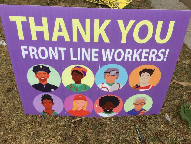 A sign thanking frontline workers during the COVID-19 pandemic in Toronto, Ont., on June 30,