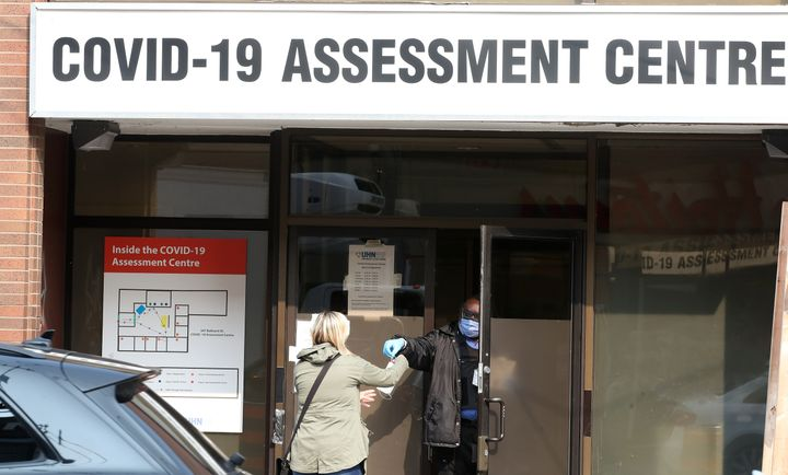A lineup of 150 people to get a test at the Toronto Western Hospital COVID-19 Assessment Centre on Sept. 15, 2020.