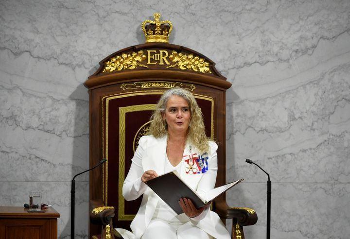 Gov. Gen. Julie Payette delivers the throne speech in the Senate chamber in Ottawa on Wednesday.