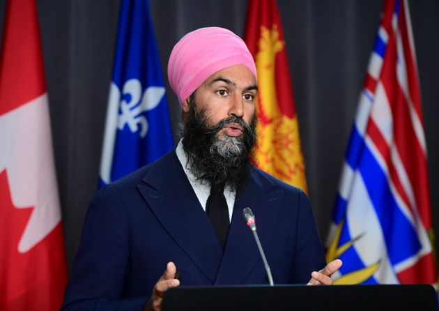 NDP Leader Jagmeet Singh holds a press conference on Parliament Hill in Ottawa on Sept. 22,