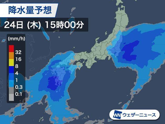 降水の予想 今日15時