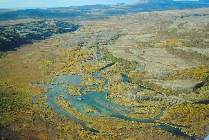 An aerial photo of Alaska's Bristol Bay watershed in Alaska. The area is home to the largest wild sockeye salmon fishery in t