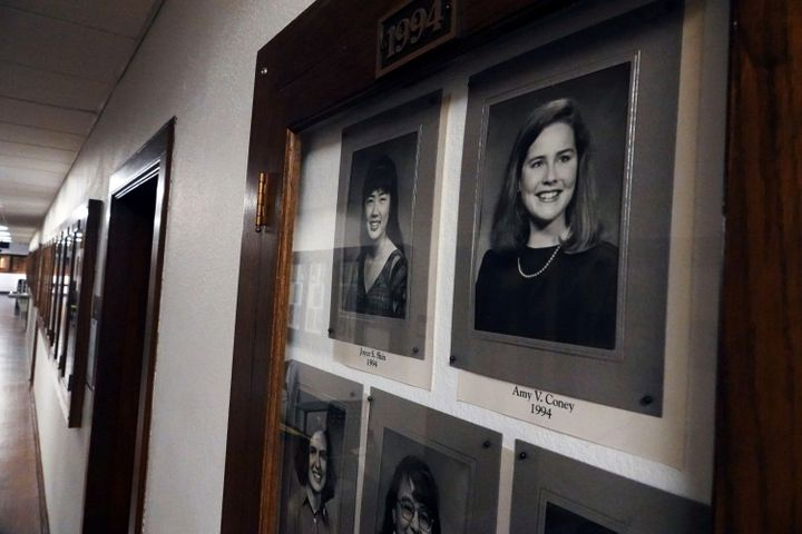 Photos of Amy Coney Barrett, a potential Supreme Court nominee, hang in the Hall of Fame of her alma mater Rhodes College in