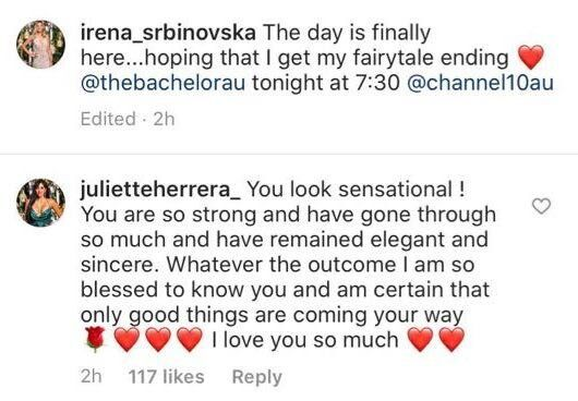 'The Bachelor Australia's Juliette Herrera throws her support behind Irena Srbinovska ahead of the grand