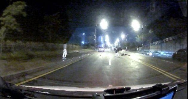 을왕리 치킨배달 50대 오토바이 운전자 사망사고 현장 블랙박스