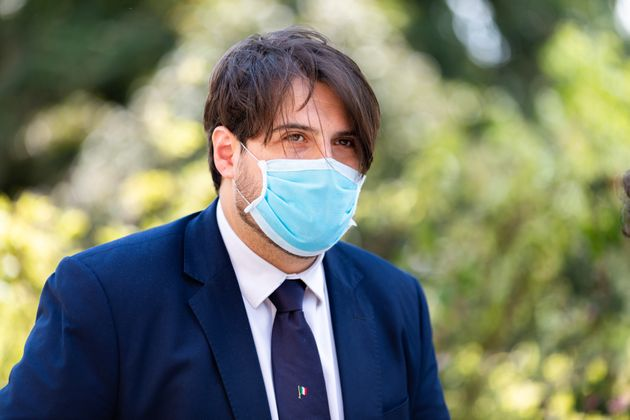 Stefano Buffagni with protective mask at the opening of the new Intensive Care Unit for patients with...