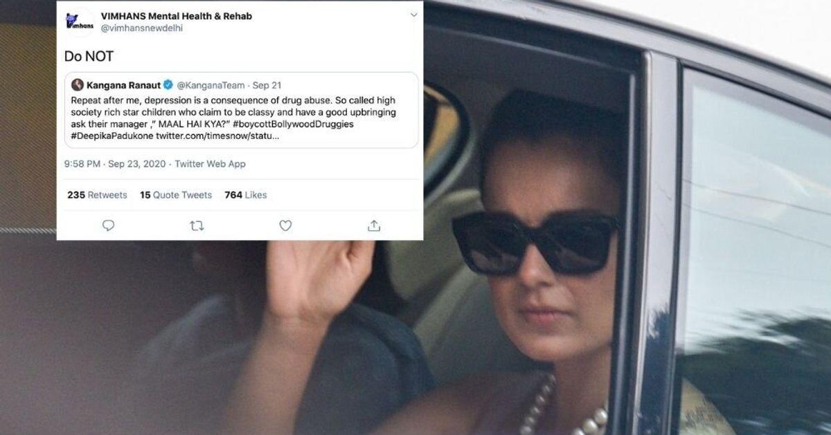 VIMHANS Claps Back At Kangana's Tweet On Depression And Drug Abuse