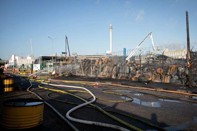 Les dégâts de l'incendie de Lubrizol (photo:LOU BENOIST/AFP via Getty