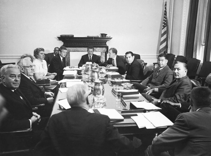 The Kerner Commission in session, Washington D.C, 1967. Officially called the National Advisory Commission on Civil Disorders