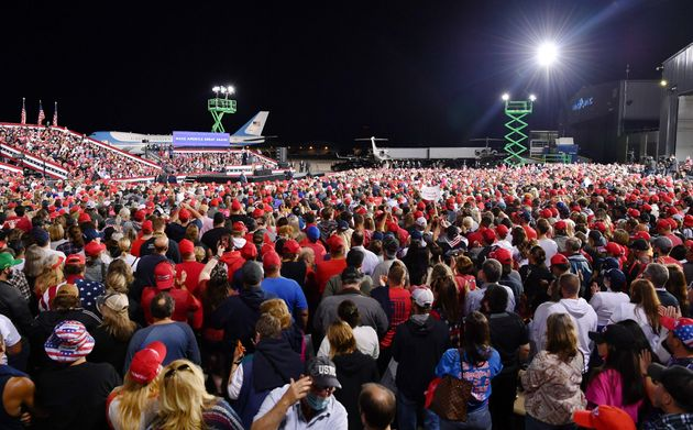 President Donald Trump speaks during a campaign rally at Pittsburgh International Airport in Moon Township,...