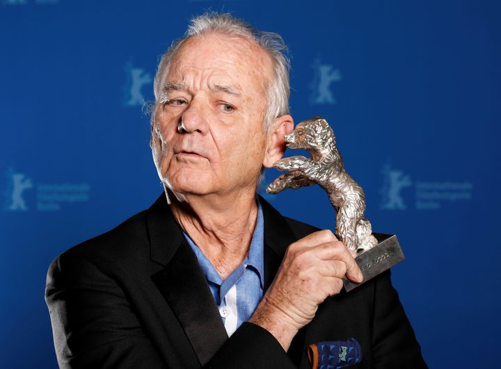 Actor Bill Murray holds the Silver Bear for Best Director award on behalf of  Wes Anderson for movie Isle of Dogs during the