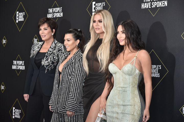Kris Jenner, Kourtney, Khloe and Kim Kardashian attend the 2019 E! People's Choice Awards.