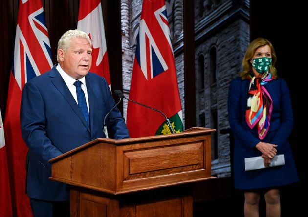 Ontario Premier Doug Ford makes an announcement with Health Minister Christine Elliott during the COVID-19...